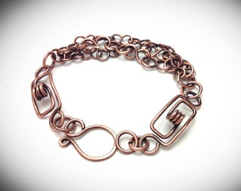 Antiqued copper  spring linked wire wrapped chain link bracelet