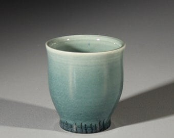 Small Blue-Green Tumbler/Cup with Linear Accent