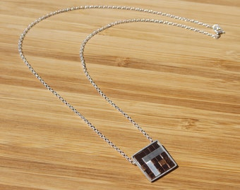 Woven Copper and Sterling silver Single square necklace
