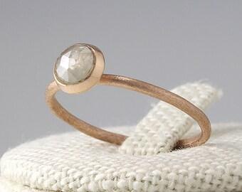 Rosecut Diamond  Engagement Ring, Engagement Ring, Simple Diamond Ring, Solid 14K Gold, Wedding Band, Stacking Ring,