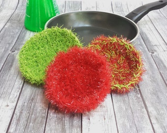 Crochet Scrubbers - Set of 3 - Tawashi - Kitchen Scrubbies - Pot Scrubbers - Dish Scrubber - Scouring Pad - Crochet Dish Scrubbies - Scrubby