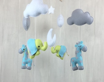 Baby mobile - Giraffe and elephant baby mobile - cloud mobile - baby crib mobile -  nursery mobile - crib mobile  - hanging mobile