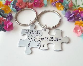 7 year Anniversary, 7th Anniversary, Boyfriend Keychain, Boyfriend Gift Ideas, Stamped Puzzle Keychains, Matching Keychains, Handstamped