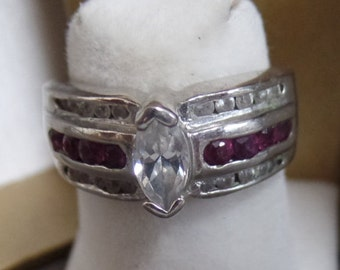 Topaz and CZ Sterling Silver Ring Size 7 marked 925