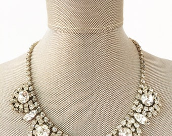 Art Deco Necklace, Bridal Necklace, Vintage Necklace, Silver Necklace, Rhinestone Necklace, Crystal Necklace, Wedding Necklace, Gatsby