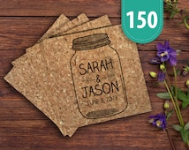 Save the Date Mason Jar Cork Coaster - Pack of 150 | Mason Jar Theme Wedding | Save The Date Mason Jar