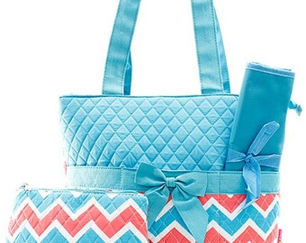 Chevron Print Monogrammed Diaper Bag Turquoise and Coral