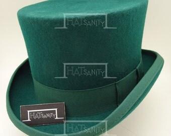 VINTAGE Wool Felt Formal Tuxedo Topper Top Hat - Green