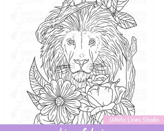 Printable Coloring Page, Animal Lion - Coloring for Adults