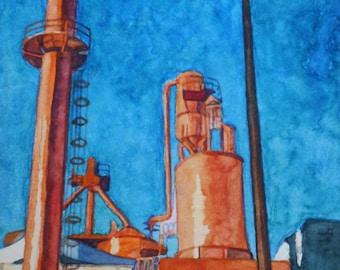 Peach Factory Industrial Building Watercolor Print. Industrial painting. Watercolor art. Industrial wall art. Industrial decor.