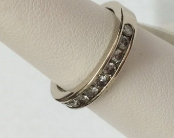 14k white gold diamond anniversary band; 4.4 grams; size 7; diamonds: .61 carat TW; gift  for her;   all occasion