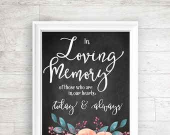 Wedding Printable, In Loving Memory, Wedding Reception, Signage, Table Card - INSTANT DOWNLOAD - 8x10