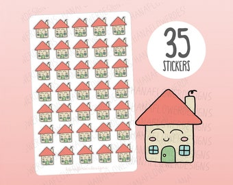 Cute house planner stickers - house stickers, rent due stickers, mortgage stickers, utility bill due stickers, kawaii stickers (D-0044)