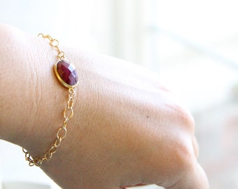 Genuine Ruby Bracelet - July Birthstone - Layering Bracelet - Unique Gold Bracelet - Ruby Jewelry - Gift for Her - Oval Bezel Red Bridesmaid