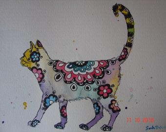 Cat Zentangle Painting, Original Watercolour Painting, Floral Cat art, Watercolour and Ink, Australian, Girls nursery room decor, art Cat