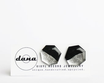 statement post earrings eco friendly jewelry silver studs chunky studs geometric jewelry unique jewelry gift idea for her lp jewelry