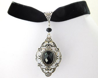 Black Velvet 16mm Victorian Gothic Choker Necklace
