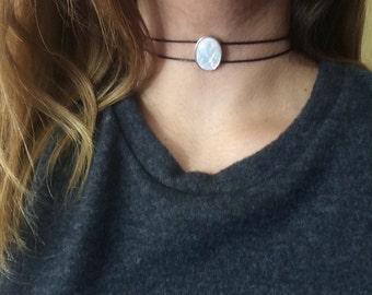 Opal choker, Opalite choker, moonstone choker, crystal choker, Opal necklace, white opal necklace, aurora borealis necklace, pastel goth
