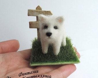 Handmade Needle felted dog, Miniature dog, Tiny dog, Miniature pet, Felted toy dog, Sculpture dog, West highland white terrier