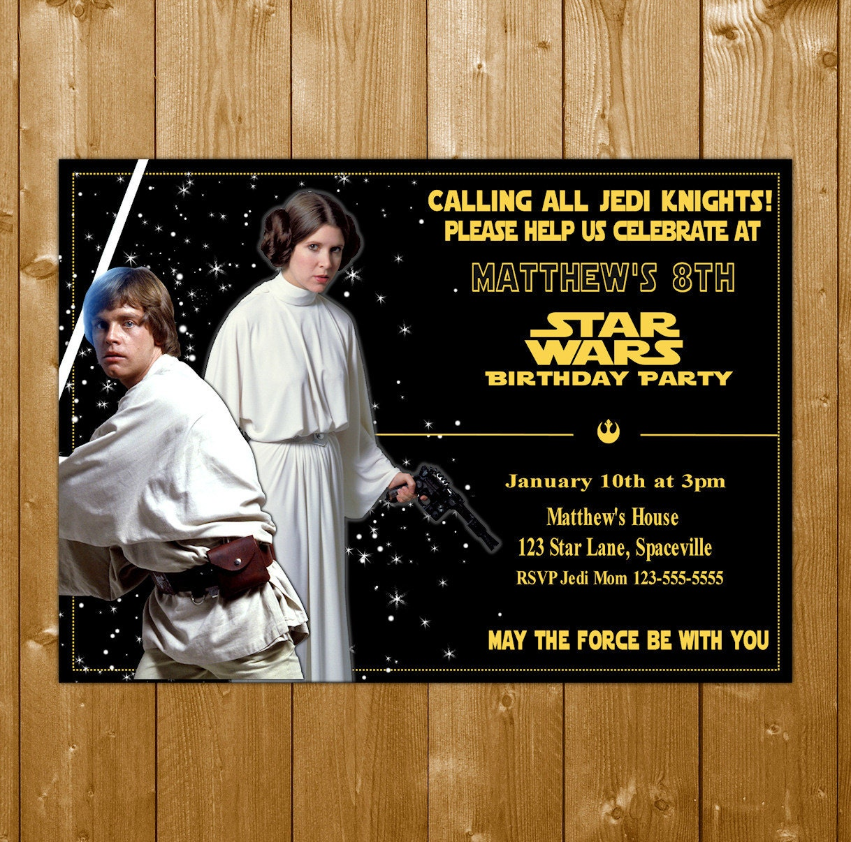 Luke And Princess Leia Invitation Star Wars Invitation Star Wars