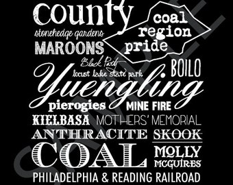 Coal Region Word Art 5x7 Print / Sign - Schuylkill County, Pennsylvania Subway Art