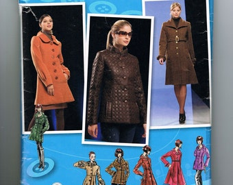 Womens Coat Sewing Pattern, Jacket Pattern, Button Front, Lined Coat, Knee Length, Collared, Project Runway, Simplicity 2812, Sizes 14 - 22