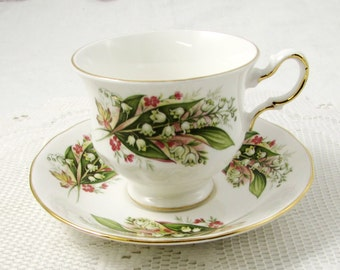 Vintage Royal Vale Flower Tea Cup and Saucer, Bone China, Lily of the Valley