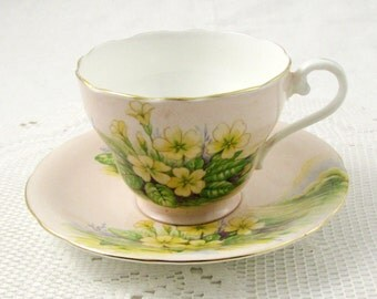 Aynsley Tea Cup and Saucer with Yellow Flowers, Bone China