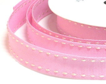 By the Metre Pink Grosgrain with Cream Stitching, 15mm Pink Ribbon, Craft Supplies, Baby Ribbon, Per Metre, Grosgrain Ribbon, Pink Ribbon