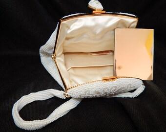 Vintage Walborg 1950s Ivory White Beaded Evening Bag & Mirror, Walborg  Japan, Bridal Purse, Bridal Evening Bag