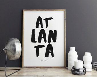 Atlanta Print, Atlanta Poster for office decor, gifts, work desk, city prints, Atlanta city Prints, art, Wall Art, Art