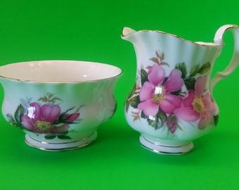Royal Albert Prairie Rose Sugar Bowl and Creamer