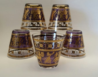 Mid Century Modern Barware, Purple and Gold Ancient Greek Design by Forecast