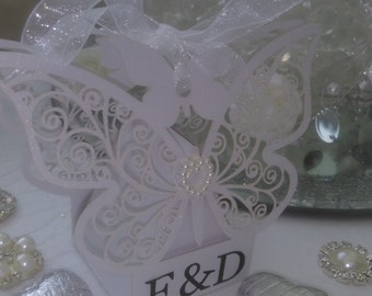 Personalised wedding favour box chocolate filled butterfly and ready assembled