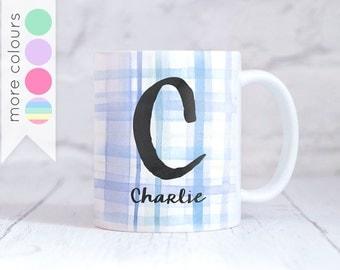 Personalised Initial Name Mug - Water Colour Tartan Pattern - Custom Alphabet Cup