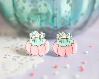 Pin Cushion Earrings - Those Who Sew Collection - Novelty Sewing Stud Earrings