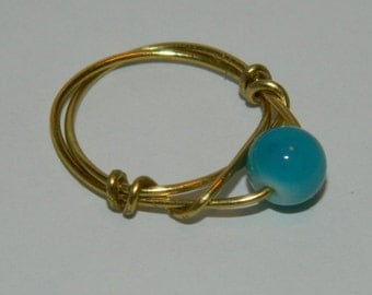 Small Blue Wire Wrapped Ring