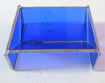 blue business card holder in stained glass