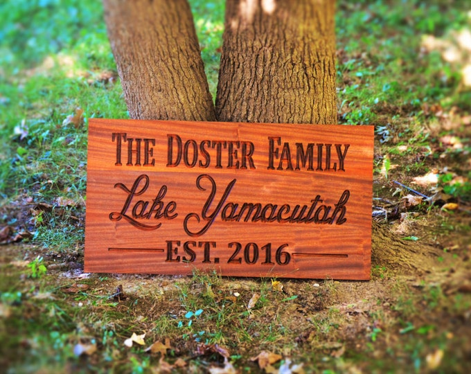 Outdoor Lake House Sign Custom Carved Wood Sign Solid Hardwood Outdoor Wood Sign Personalized Wood Sign, Custom Wood Sign Carved Wood Sign