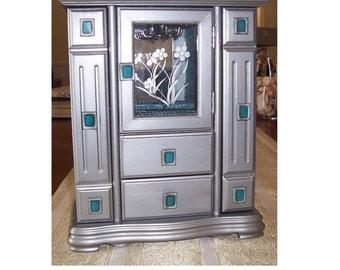 Jewelry Box, Vintage Wood Jewelry Box, Wood Jewelry Armoire, Art Deco Jewelry Box