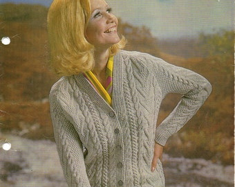 womens aran cardigan knitting pattern cable jacket 1970s v neck 34-40 inch DK womens knitting pattern pdf instant download