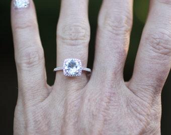 925 Sterling Genuine Aquamarine & Halo Diamond Gemstone Engagement Birthstone Ring, Custom Sizes Available