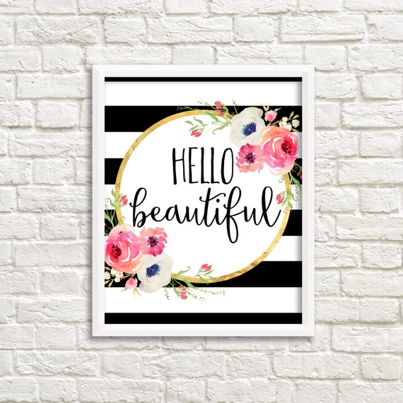 Hello Beautiful Black And White Stripe Watercolor Flower