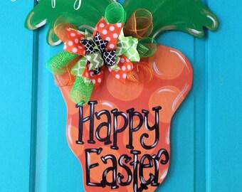 Carrot Wood Door Hanger by Simply aDOORable.  Happy Easter Door Decor, Easter Door Decoration, Easter Decor, Carrot, Easter Wreath
