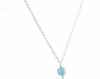 Pearl filigree silver 999 and Angelite necklace