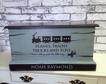 Personalized Toy Chest, Baby Chest, Toy Box, Memory Box, Baby Shower Gift - Personalize your wood chest with any verbiage & colors.