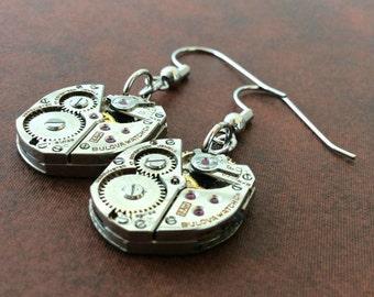 Steampunk Watch Part Gear Bulova Movement Dangle Earrings - Lauren's Creations - The Old Mill Shoppe - Bulova Earrings - Watch Movem