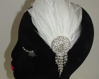 White & Silver Rhinestone Feather Headpiece Vintage 1920s Headband Flapper U42