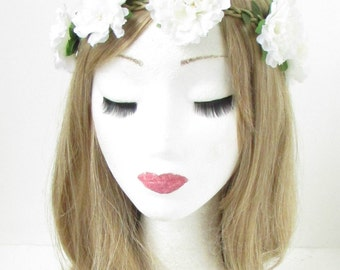 Ivory White Carnation Flower Hair Crown Headband Garland Elastic Stretch 586