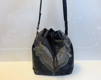 ROBERTO CAVALLI - SALE -30% 70/80s Roberto Cavalli Velvet and Leather Satchel Bag
